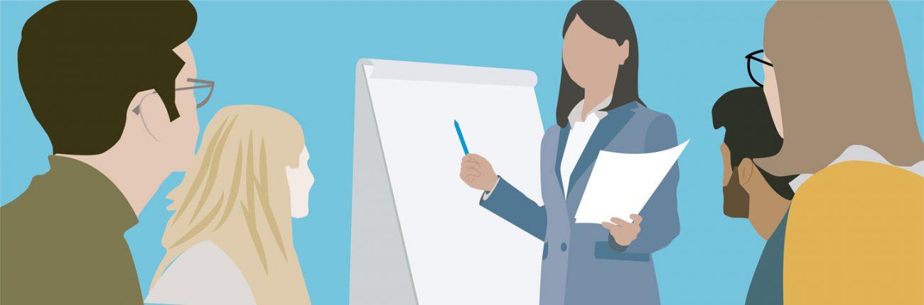 Woman explains idea on whiteboard