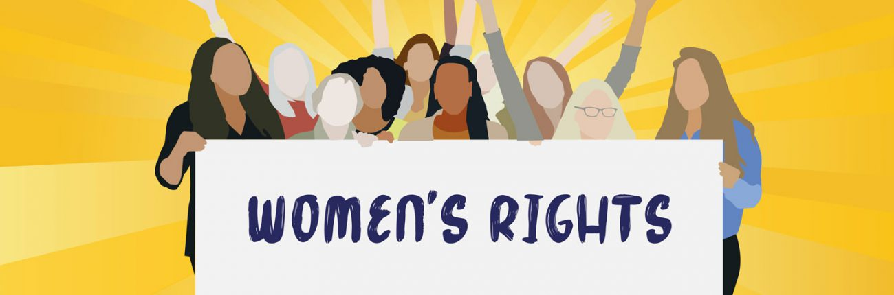 Women with womens rights banner